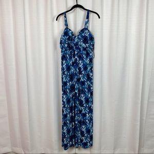Lane Bryant Blue&White Abstract Print Maxi Dress